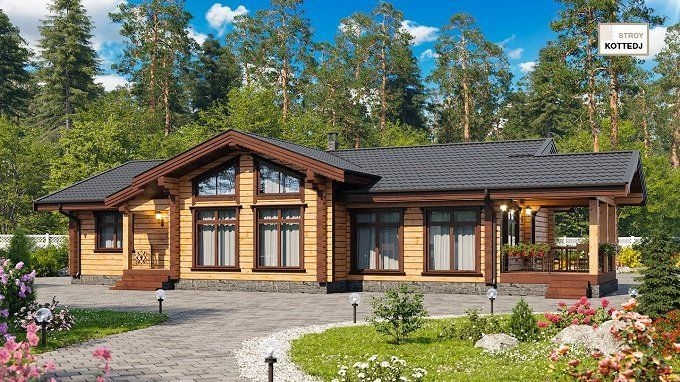 Одноэтажные деревянные дома из клееного бруса